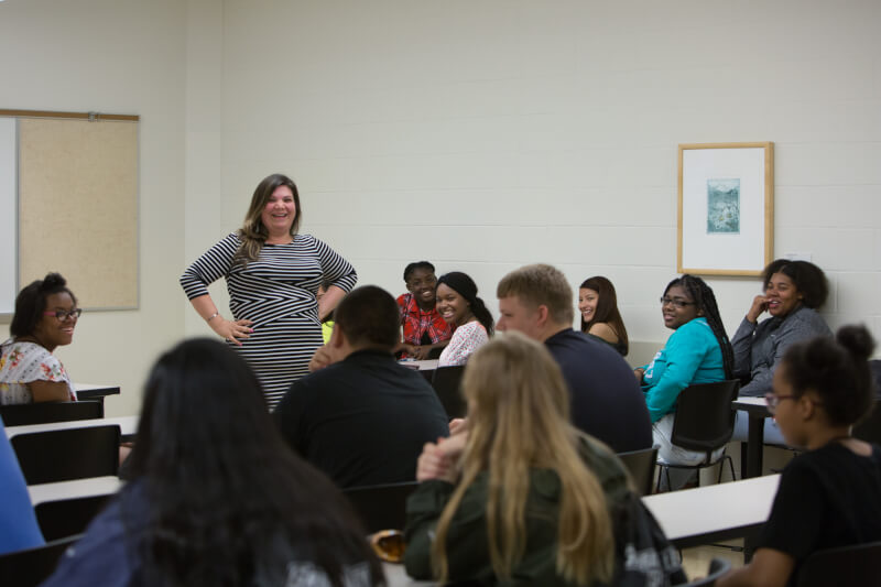 Students attended a class that was led by Andrea Riley-Mukavetz, assistant professor of liberal studies.